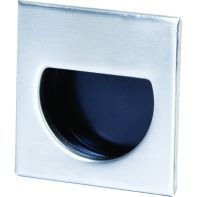 """Handle """"Adatto"""" Recessed pull 44mm square, brushed stainless steel / black plastic"""