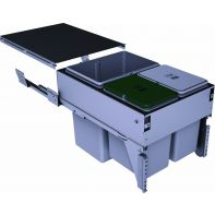 Sige triple waste organiser incl. one green and one grey lid (soft-close ) soft-close, suits 400mm width, 36l (1x21l, 2x7.5l), ea.
