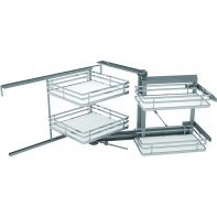 Sige pull-out corner unit (right) soft opening and closing, white melamine base/flat chrome railing suits 900mm width, 2 box kit