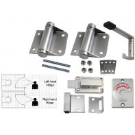 Metlam toilet partition kit, spring hinge, hold closed, bolt fix, satin chrome-plated, set