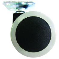 "Castor ""Sigma"", twin wheel unhooded, 50mm diameter, 38mm sq plate, black wheel/grey tread, each"
