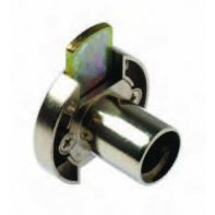 BMB inlaid lock housing with latch, round, nickel plated, ea.