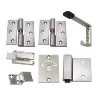 Metlam toilet partition kit, gravity hinge, hold open, screw fix, right hand, satin chrome-plated, set
