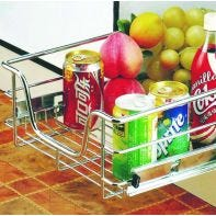 Tradecraft pull-out basket, 130mm tall (incl. slides and brackets), chrome