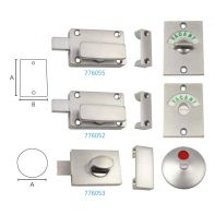 Metlam toilet partition turn bolt/indicator, safety type, satin chrome-plated, set