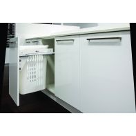 Sige laundry hamper (single) with soft-close runners, suits 450mm cabinet, white basket with lid, 1x53l, ea.