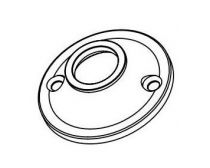 Tube support, end flange, 19mm diameter, zinc, chrome finish, each