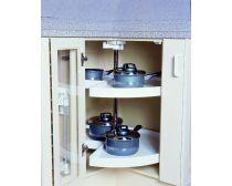 Kimberly three quarter carousel (270 deg), white PVC tray, 720mm diameter, ea.