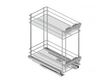 VIVID Undercounter pull-out organiser, suits 300mm cabinet, chrome wire, base-mounted, 3D door adjustment, each